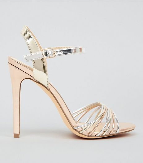 Rose Gold Silver and Gold Heeled Sandals | New Look