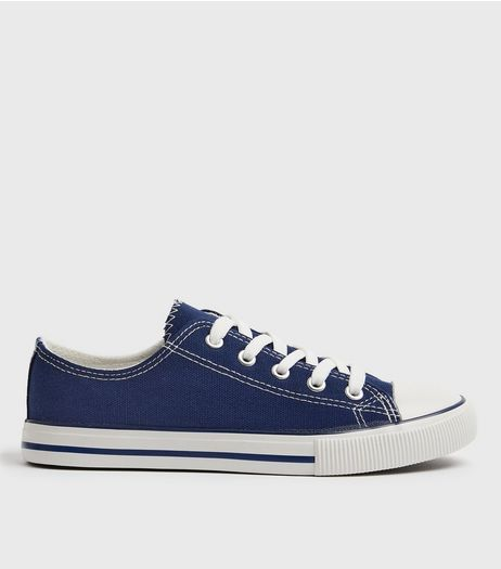 Blue Canvas Contrast Lace Up Trainers | New Look