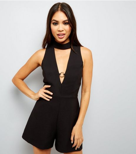 Black Choker Neck Ring Trim Playsuit  | New Look