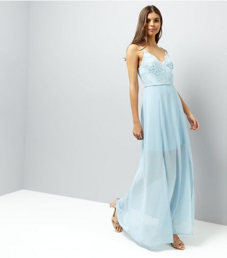 Pale Blue Lace Panel Strappy Maxi Dress | New Look