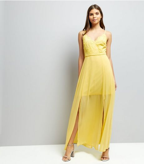 Yellow Lace V Neck Maxi Dress | New Look
