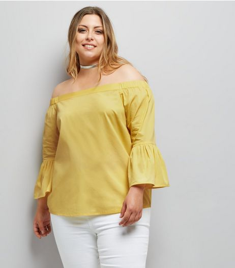Curves Yellow Bell Sleeve Bardot Neck Top | New Look