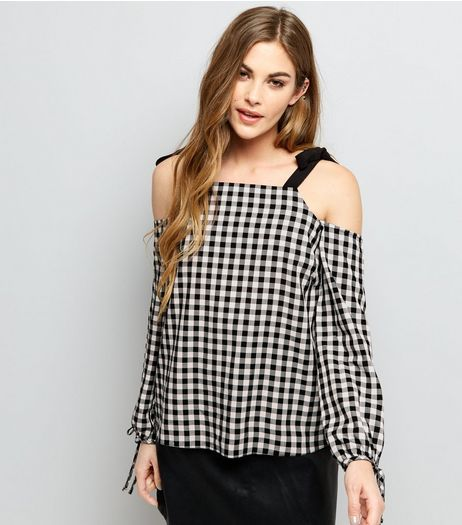 Black Gingham Tie Strap Cold Shoulder Top  | New Look