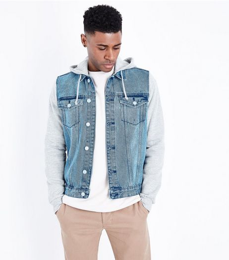 Blue Jersey Sleeve Denim Jacket | New Look