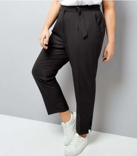 Curves Black D-Ring Hem Cropped Trousers | New Look