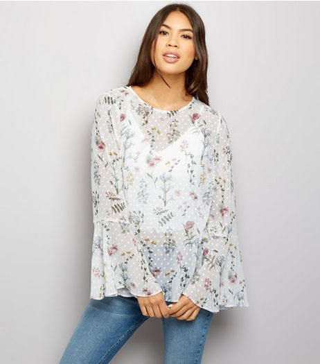 White Chiffon Floral Print Bell Sleeve Top  | New Look