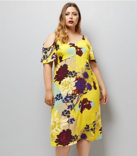 Curves Yellow Floral Cold Shoulder Midi Dress | New Look
