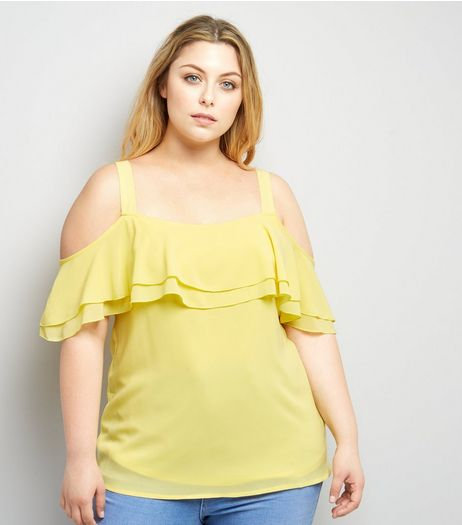 Curves Yellow Cold Shoulder Frill Trim Top | New Look