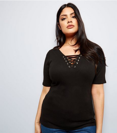 Curves Black Eyelet Lace Up Ribbed Short Sleeve Top | New Look