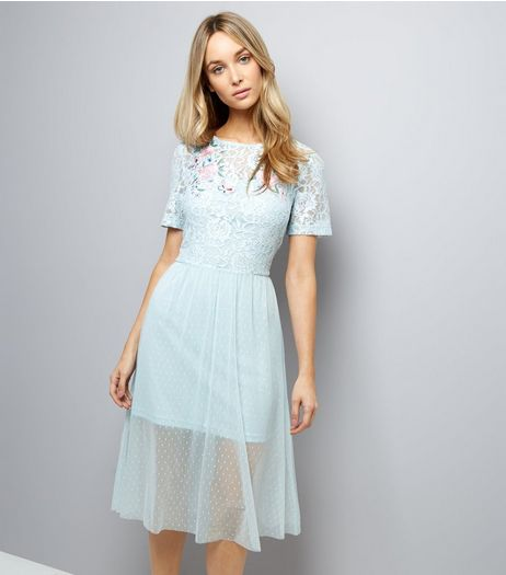 Pale Blue Lace Embroidered Skater Dress | New Look