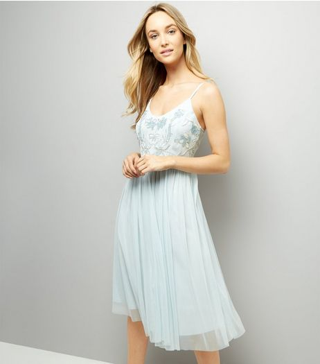 Pale Blue Premium Embellished Tulle Dress | New Look