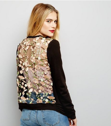 Black Floral Embroidered Lace Back Cardigan  | New Look