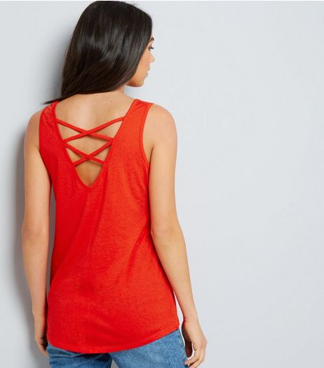 Orange Cross Strap Back Vest | New Look