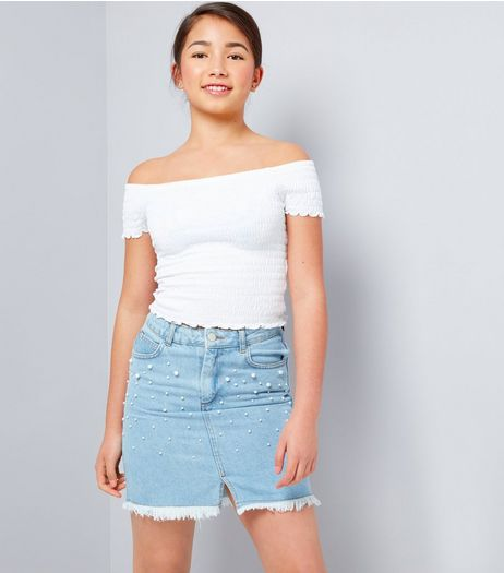 Teens Pale Blue Pearl Embellished Denim Skirt | New Look