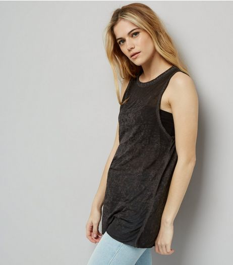 Dark Grey Ripped Back Tank Top  | New Look