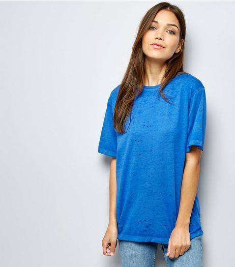 Blue Ripped Short Sleeve T-Shirt  | New Look