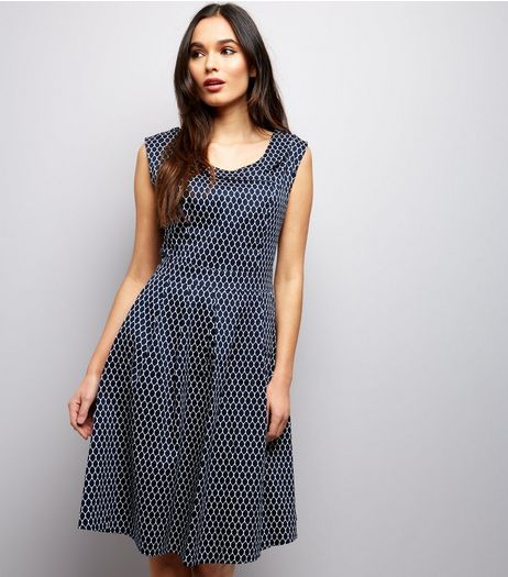 Apricot Navy Oval Print Vintage Collar Dress | New Look