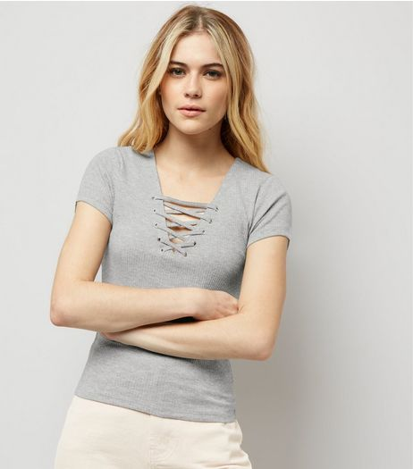 Grey Lattice Front Short Sleeve T-Shirt | New Look