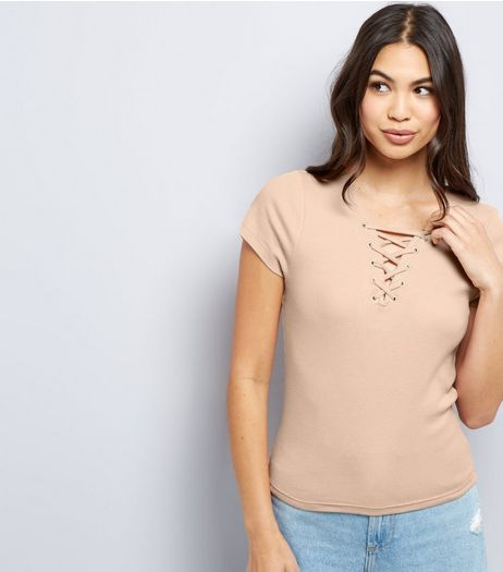 Light Brown Lattice Front T-Shirt  | New Look