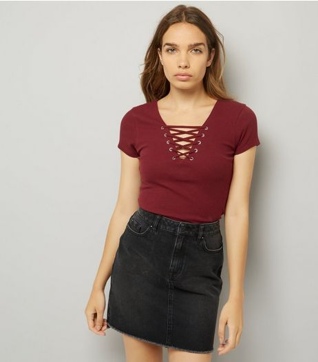 Burgundy Lattice Front Short Sleeve T-Shirt | New Look