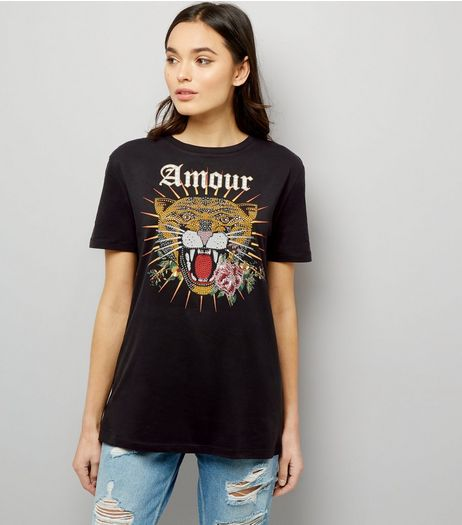 Black Tiger Amour Print T-Shirt  | New Look