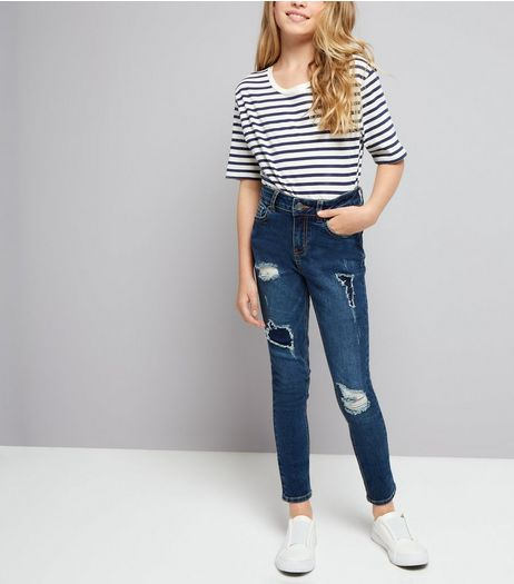 Teens Navy High Waist Distressed Skinny Jeans | New Look