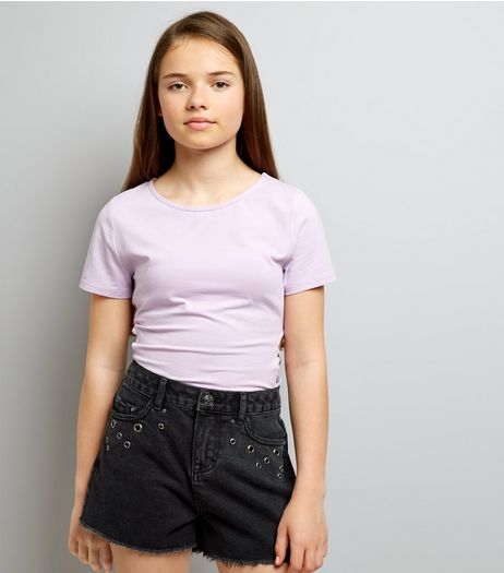 Teens Black Eyelet Trim Denim Shorts | New Look
