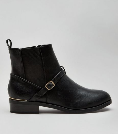 Wide Fit Black Buckle Strap Metal Trim Boots | New Look