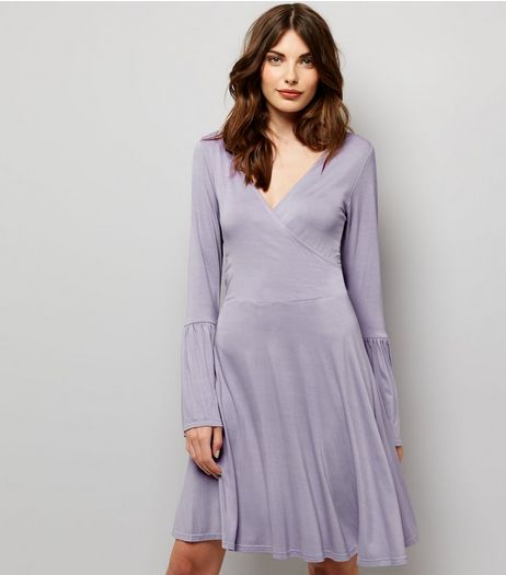 Lilac Bell Sleeve Wrap Front Dress  | New Look