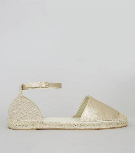 Wide Fit Gold Espadrille Sandals | New Look