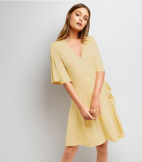 Yellow Wrap Front 1/2 Sleeve Skater Dress  | New Look