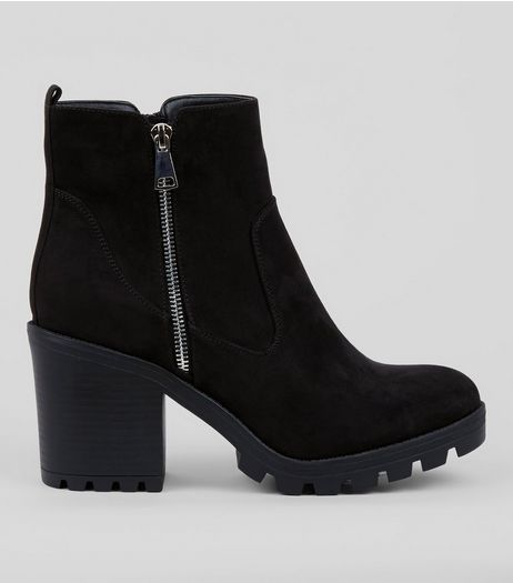 Wide Fit Black Chunky Side Zip Ankle Boots | New Look