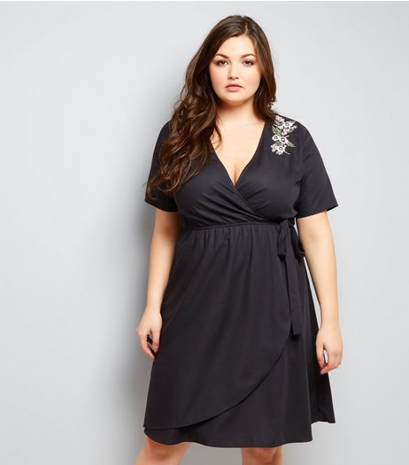 Curves Black Floral Emroidered Shoulder Wrap Front Dress | New Look