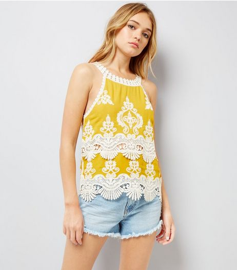 Yellow Crochet Lace Trim Crop Top  | New Look