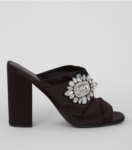 Black Satin Chunky Crystal Embellished Block Heels | New Look