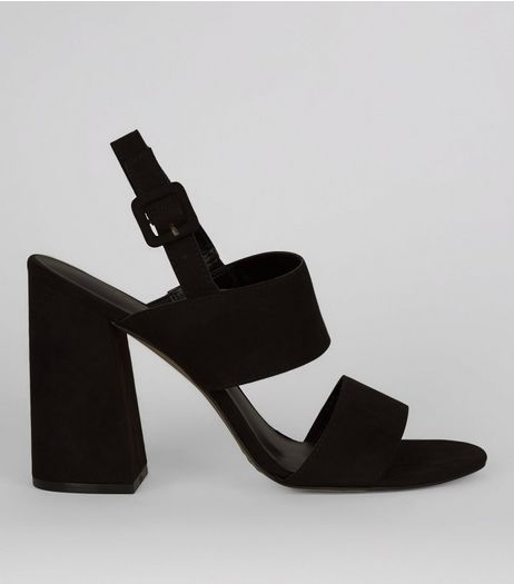 Black Suedette Open Toe Flared Block Heels  | New Look