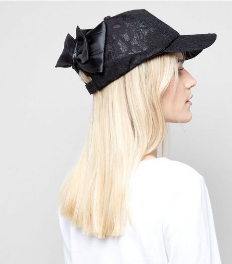 Black Lace Bow Back Cap | New Look