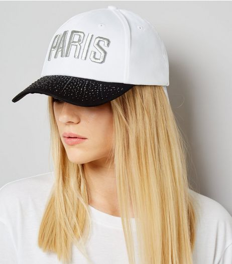 White Paris Embroidered Cap | New Look