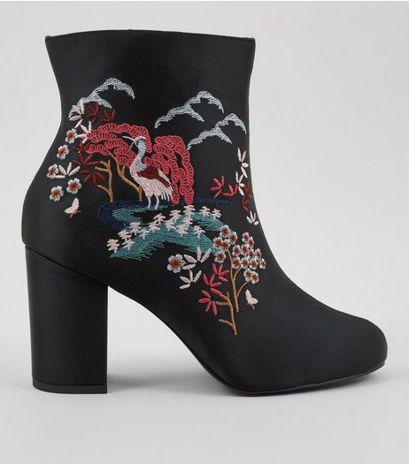 Wide Fit Black Floral Embroidered Heeled Boots  | New Look