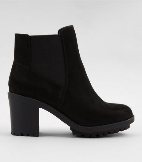 Wide Fit Black Suedette Heeled Chelsea Boots | New Look