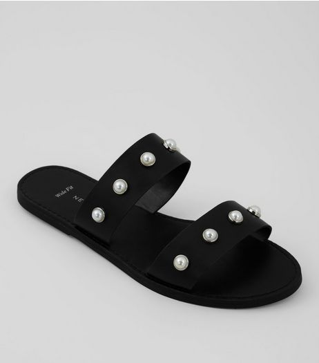 Wide Fit Black Pearl Strap Mules | New Look