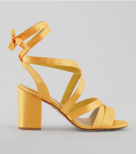 Wide Fit Yellow Satin Ankle Tie Heels  | New Look