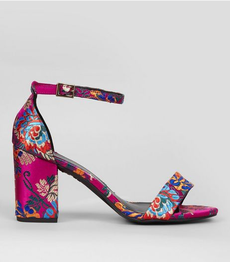 Wide Fit Pink Floral Brocade Heeled Sandals | New Look