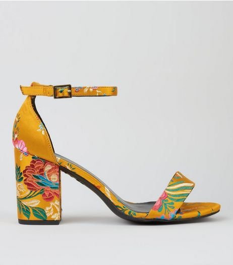 Wide Fit Yellow Floral Brocade Heeled Sandals | New Look