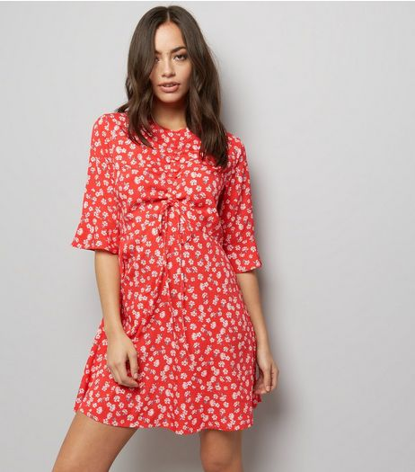 Influence Red Floral Print 1/2 Sleeve Dress | New Look