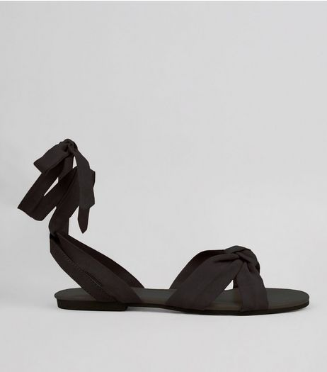 Black Ankle Tie Sandals | New Look