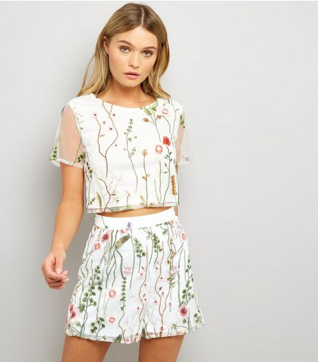 Parisian White Floral Embroidered Mesh Shorts  | New Look
