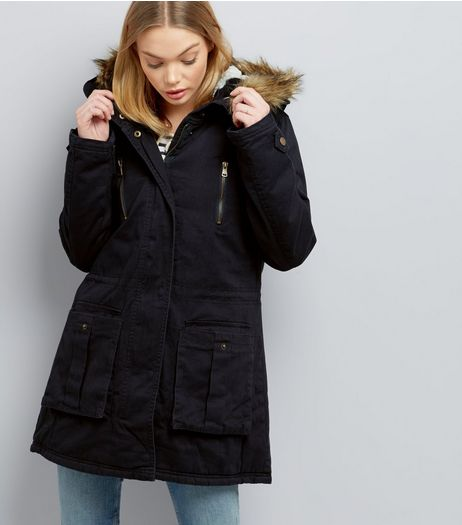 Navy Faux Fur Trim Parka  | New Look