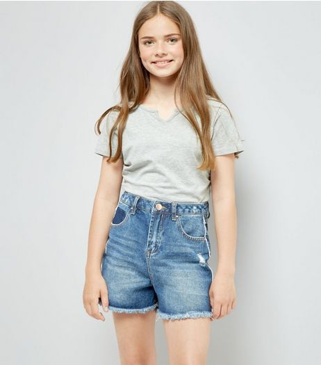 Teens Blue Frayed Side Seam Denim Shorts  | New Look