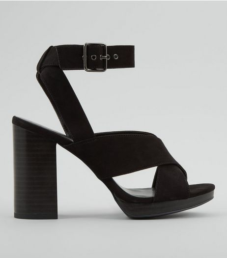 Black Cross Strap Buckle Strap Heels | New Look